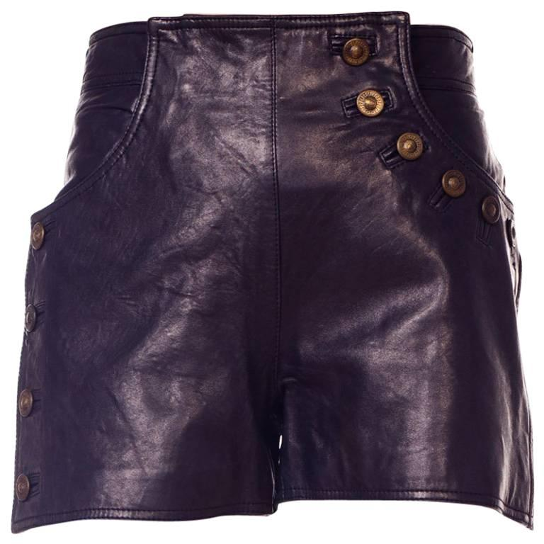 Gianni Versace 1990s Bondage Collection Leather Shorts with Medusa Buttons