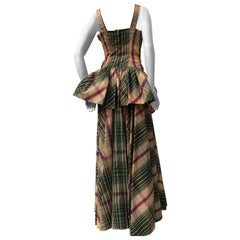 1940s Jourdelle Of Hollywood Originals Plaid Taffeta Bustle-Back Peplum Gown