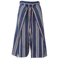 Morphew Blue and White Striped Handwoven African Indigo Wrap Pants