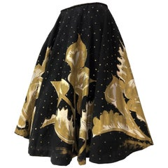 1950s Hand- Painted Black & Gold Sequin Mexican Circle Skirt With Calla Lilies
