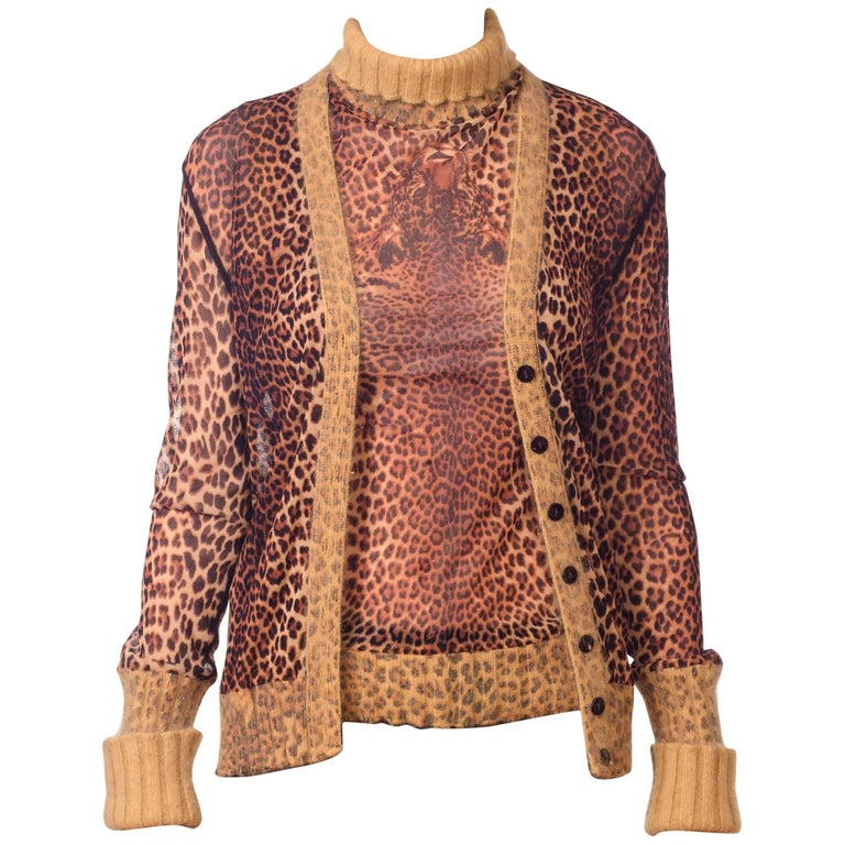 Jean Paul Gaultier Leopard Mesh Top and Cardigan with Angora Trim