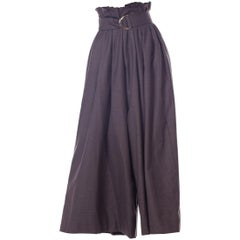 Houghton New York Grey Cashmere Wide Leg Pleated Trousers