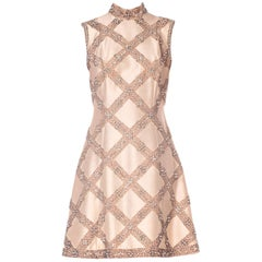 1960s Beaded Silk Mod Fitted Cocktail Dress