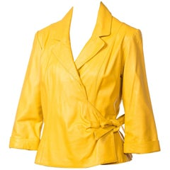 1980s Yellow Leather Wrap Front Shirt Jacket