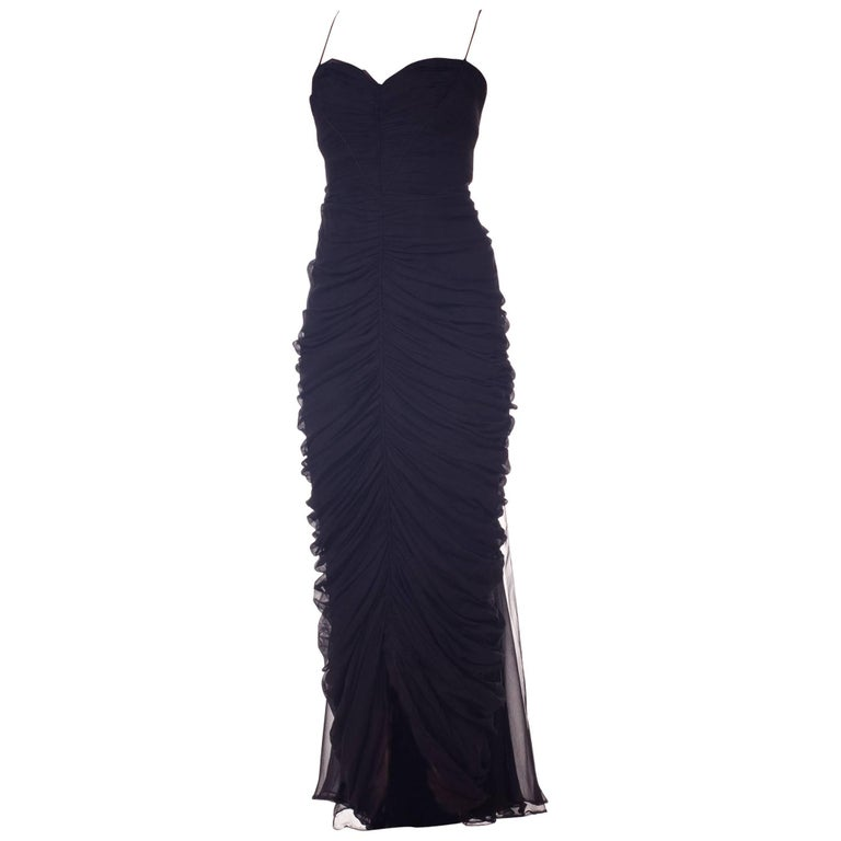 1950s Black Chiffon Demi-Couture Bombshell Evening Gown For Sale