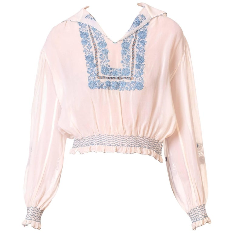 Embroidered Peasant Top Semi Sheer