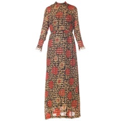 Oscar De La Renta Long Sleeved Lurex Jacquard Floral Print Dress, 1960s