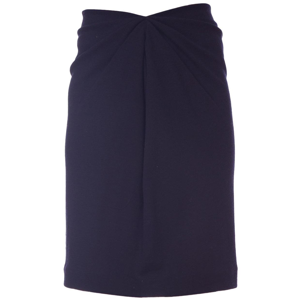 1980S DONNA KARAN Black Wool Jersey 40S Film Noir Style Skirt With Elastic Waist