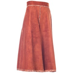 Roberto Cavalli Brown Suede Midi Skirt with Floral Leather Printed Trim 1970s