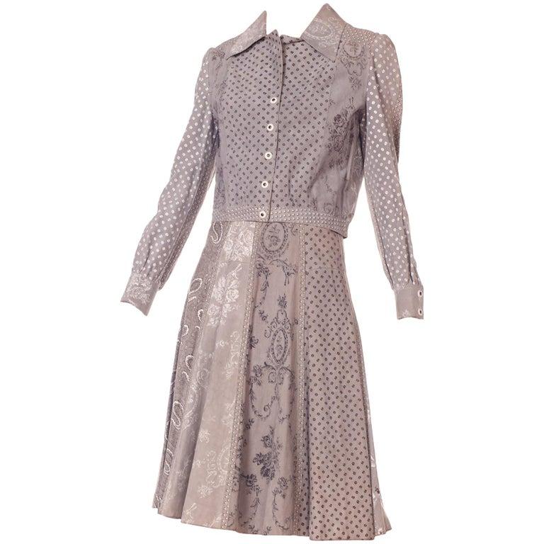 Roberto Cavalli Grey Printed Suede Jacket and Skirt Set, 1970s