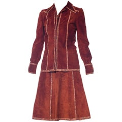 Roberto Cavalli Cognac Suede with Print Panels Jacket and Skirt Set