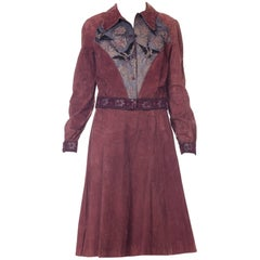 1970s Roberto Cavalli Printed Suede Skirt and Jacker Set