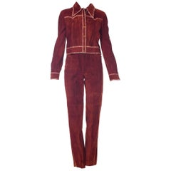 Roberto Cavalli Cognac Suede Pants and Jacket set with printed trims