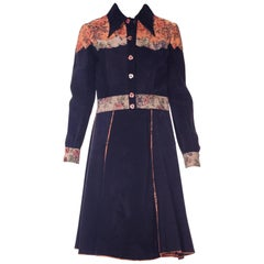 Roberto Cavalli Navy Patterned Suede Panel Cropped Hand Painted Jacket, 1970