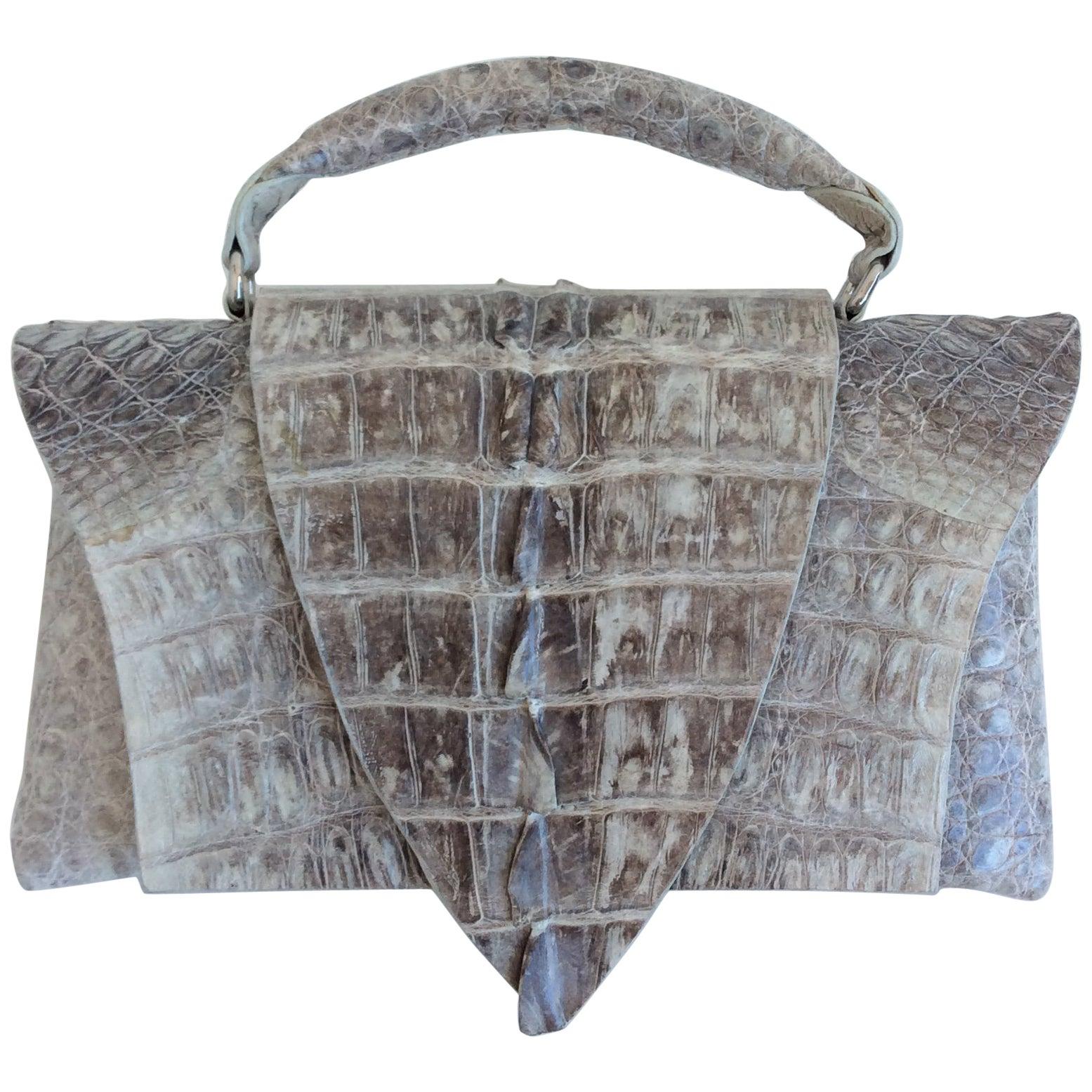1stdibs B. Romanek Gray Crocodile Rockstar Clutch Bag With Handle ISlZzyJ1kv