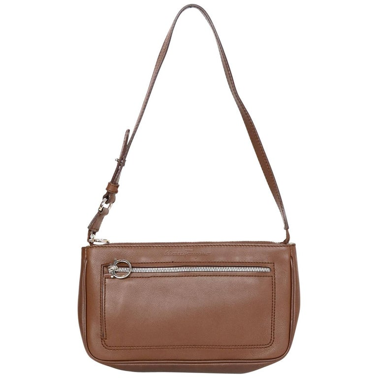 Salvatore Ferragamo Brown Leather Pochette Bag