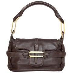 Jimmy Choo Brown Leather Tulita Top Handle Bag