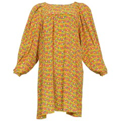 Vintage Yves Saint Laurent 1970s Yellow Floral Smock Dress