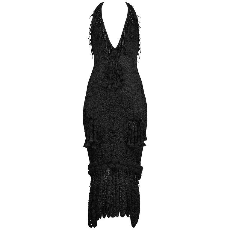 John Galliano Vintage Crochet and Beaded Tassel Halter Gown