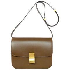 Celine Camel Brown Calfskin Leather Medium Box Bag