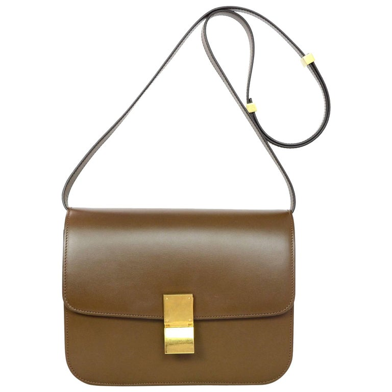 Celine Camel Brown Calfskin Leather Medium Box Bag For Sale at 1stdibs 3b0ae8349fe23