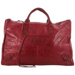 Balenciaga Weekender Classic Studs Handbag Leather
