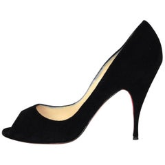 6/12 Christian Louboutin Black Suede Peep Toe Pumps Sz 41 with DB