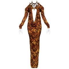 Vintage Jean Paul Gaultier Jersey Tortoise Print Evening Gown