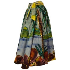 Maya Tropical Hand-Painted Lightweight Wool Circle Skirt With Sequins, 1950s