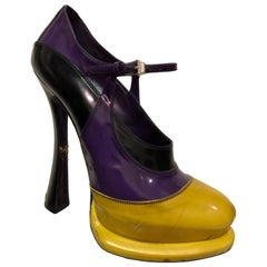 Prada Canary Yellow Purple & Black Fetish-Style Platform Mary Jane Heels