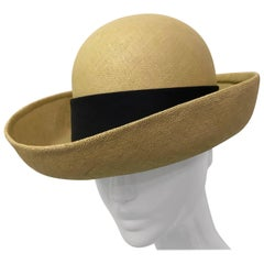 Galanos Panama Weave Boater Style Tailored Summer Hat, 1960s