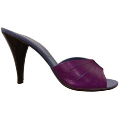 1990s Giancarlo Paoli Magenta & Periwinkle Leather Stiletto Mules