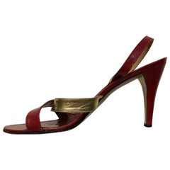 1970s Yves Saint Laurent Gold & Red Leather High Heel Sling-Back Sandals