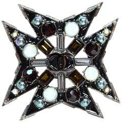 Chanel Gunmetal Crystal CC Maltese Cross Brooch Pendant