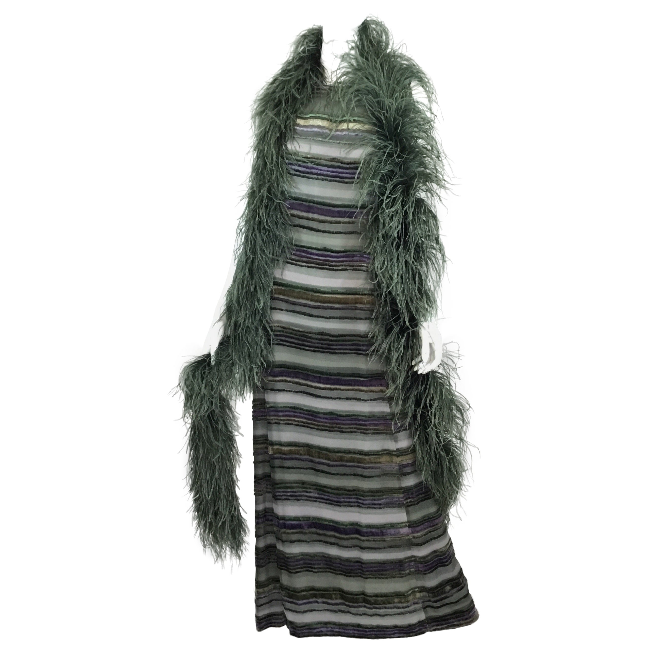 c662be375c21a Emporio Armani Velvet Column Gown with Boa Ensemble