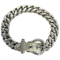 Hermes Sterling Silver Buckle Bracelet