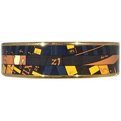 Hermes Paris Multicolor Enamel w/ Gold Bangle Bracelet