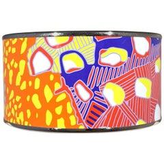 Hermes Paris Multicolor Enamel Wide Bangle w/Silver Small