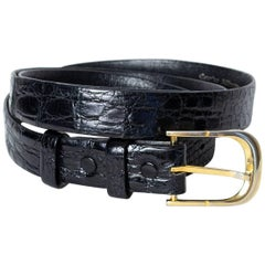 Men's Black Spanish Alligator Belt with Removable Buckle, 1970s