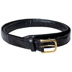Men's Black Eelskin Leather Belt with Goldtone Buckle, 1980s