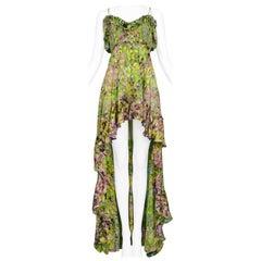 Roberto Cavalli Green Chiffon Floral Mini Dress with Train