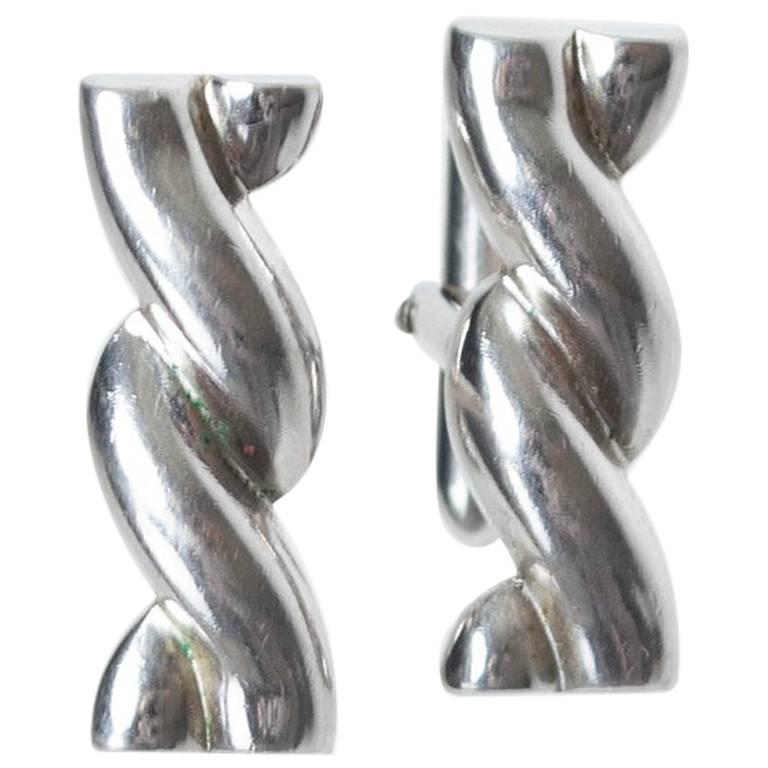 Swank Silver Twist Toggle Back Cuff Links, 1960s For Sale