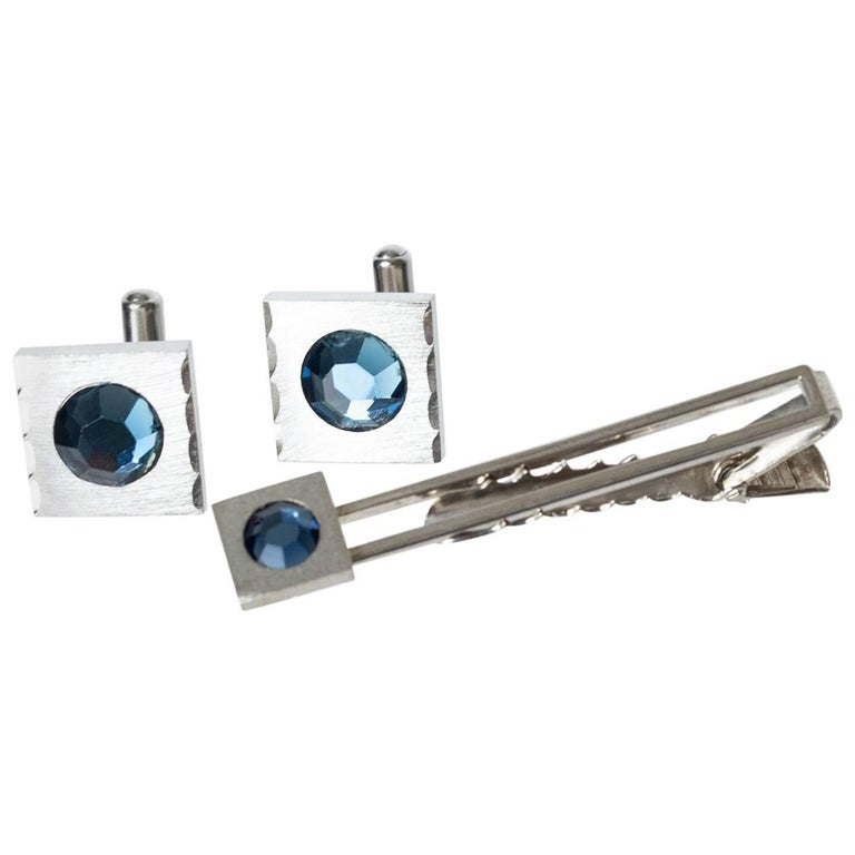 Silver and Aquamarine Crystal Tie Bar and Cuff Link Set, 1950s For Sale