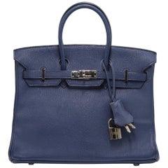 Hermes Blue De Malte Birkin 25