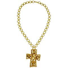 Christian Lacroix Vintage Gold Toned Cross Pendant Necklace