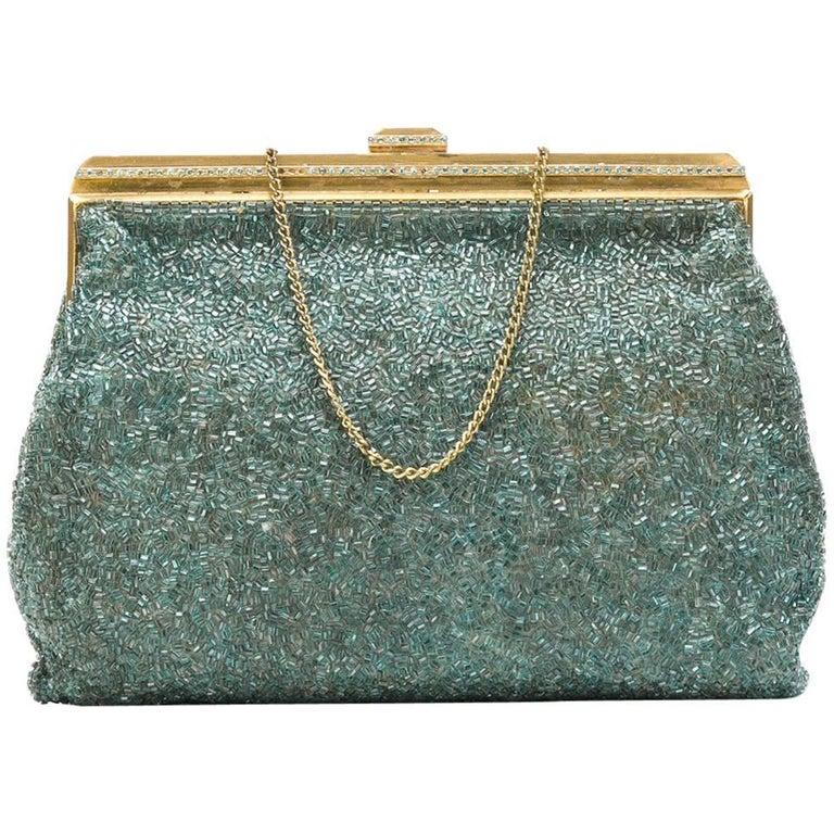 Vintage 1950s Aqua Blue Beaded Handbag