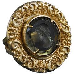 Bronze and engraved Murano glass ring by Patrizia Daliana