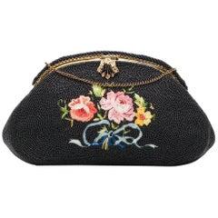 Vintage 1940s Beaded Floral Handbag