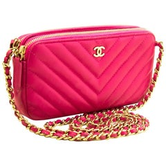 CHANEL Hot Pink Wallet On Chain WOC Double Zip Chain Shoulder Bag