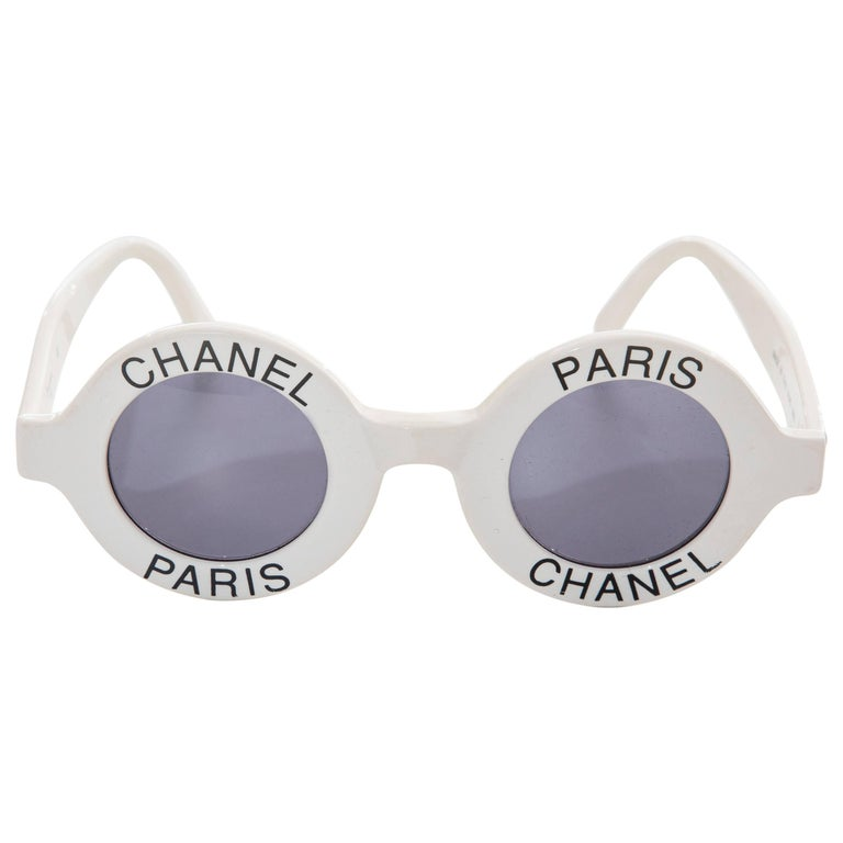 6970ee6b37 Chanel Runway Logo Round White Sunglasses With Tinted Lenses